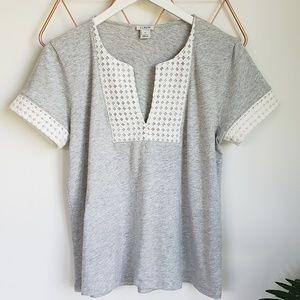 J. Crew, Grey Embroidered Mesh Knit Top, M